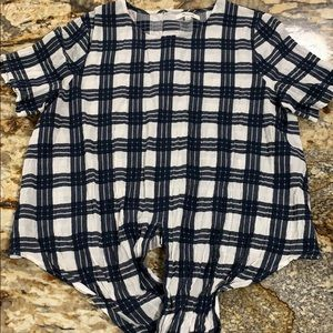 Madewell plaid button back top size large